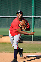 Pitcher Mauricio Cabrera (65) of the Atlanta Braves farm system in a Minor League Spring Training workout on Monday, March 16, 2015, at the ESPN Wide World of Sports Complex in Lake Buena Vista, Florida. (Tom Priddy/Four Seam Images)