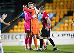 St Johnstone v Kilmarnock…24.11.18…   McDiarmid Park    SPFL<br />Saints keeper Zander Clark with opposite number Daniel Bachmann at full time<br />Picture by Graeme Hart. <br />Copyright Perthshire Picture Agency<br />Tel: 01738 623350  Mobile: 07990 594431