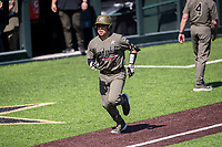 Vanderbilt Commodores catcher C.J. Rodriguez (5) rounds the bases following a home run against the South Carolina Gamecocks at Hawkins Field in Nashville, Tennessee, on March 21, 2021. The Gamecocks won 6-5. (Danny Parker/Four Seam Images)
