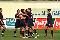 USA team members congratulate Lauren Cheney on her second of two goals.  The USA was victorious over Sweden 2-0 in Ferreiras on March 1, 2010 at the Algarve Cup.