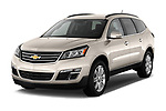 Front three quarter view of a 2013 Chevrolet Traverse 1LT SUV Stock Photo
