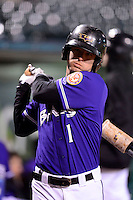 Louisville Bats outfielder Josh Fellhauer #1 during a game against the Indianapolis Indians on April 19, 2013 at Louisville Slugger Field in Louisville, Kentucky.  Indianapolis defeated Louisville 4-1.  (Mike Janes/Four Seam Images)