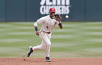 Arkansas infielder Jalen Battles (4) makes a catch, Saturday, April 3, 2021 during the first inning of a baseball game at Baum-Walker Stadium in Fayetteville. Check out nwaonline.com/210404Daily/ for today's photo gallery. <br /> (NWA Democrat-Gazette/Charlie Kaijo)