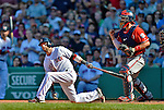 10 June 2012: Boston Red Sox second baseman Dustin Pedroia strikes out swinging for the final out of the game against the Washington Nationals at Fenway Park in Boston, MA. The Nationals defeated the Red Sox 4-3 to sweep their 3-game interleague series. Mandatory Credit: Ed Wolfstein Photo