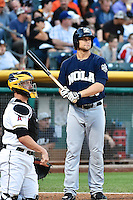 Kyle Jensen (20) of the New Orleans Zephyrs at bat against the Salt Lake Bees in Pacific Coast League action at Smith's Ballpark on August 27, 2014 in Salt Lake City, Utah.  (Stephen Smith/Four Seam Images)