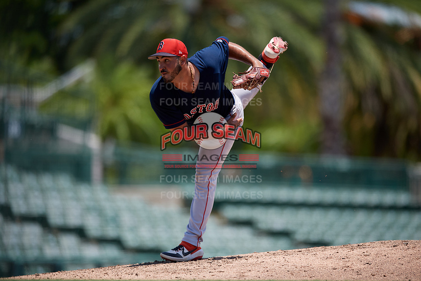 GCL Red Sox pitcher Eddie Jimenez (55) during a Gulf Coast League game against the GCL Orioles on July 29, 2019 at Ed Smith Stadium in Sarasota, Florida.  GCL Red Sox defeated the GCL Pirates 9-1.  (Mike Janes/Four Seam Images)