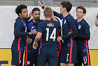 ST. GALLEN, SWITZERLAND - MAY 30: USMNT celebrate their goal during a game between Switzerland and USMNT at Kybunpark on May 30, 2021 in St. Gallen, Switzerland.
