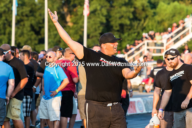 """Justin Shearer aka """"Big Chief"""", from the Discovery Channel's hit TV series, Street Outlaws, has some fun racing his car,the Crow during the first annual Outlaw Armageddon drag race at the Thunder Valley Raceway drag strip in Noble, OK."""