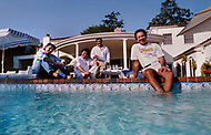 June 8th, 1987, Los Angeles, California, USA. Guess Jeans designers The Marciano Brothers at George's home.