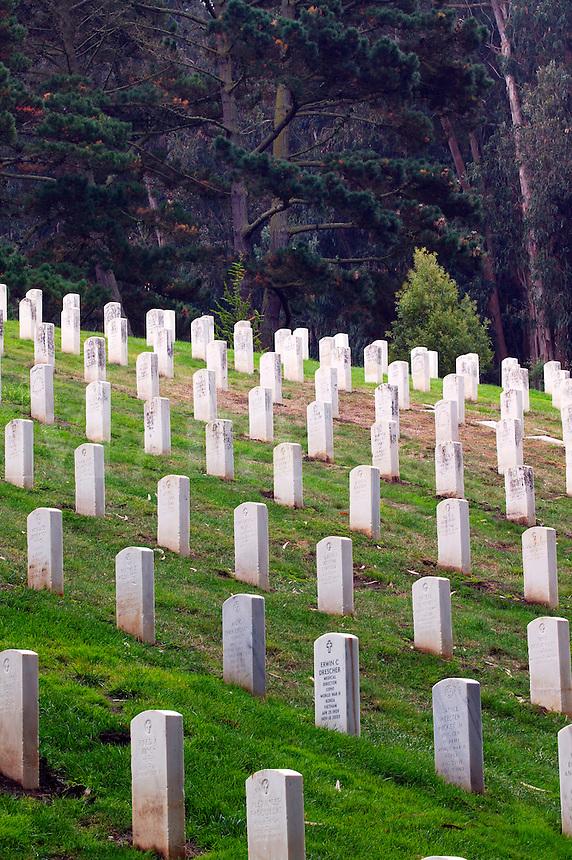 Headstones in a cemetery at the Presidio, San Francisco, California