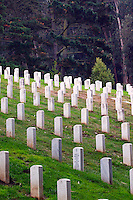 Headstones in a cemetery at the Presidio, San Francisco, California
