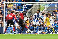 Romelu Lukaku of Manchester United (9) looks out of shape and slow during the Premier League match between Brighton and Hove Albion and Manchester United at the American Express Community Stadium, Brighton and Hove, England on 19 August 2018. Photo by Edward Thomas / PRiME Media Images.