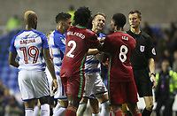 Chris Gunter of Reading confronts Leroy Fer of Swansea City during the Carabao Cup Third Round match between Reading and Swansea City at Madejski Stadium, Reading, England, UK. Tuesday 19 September 2017