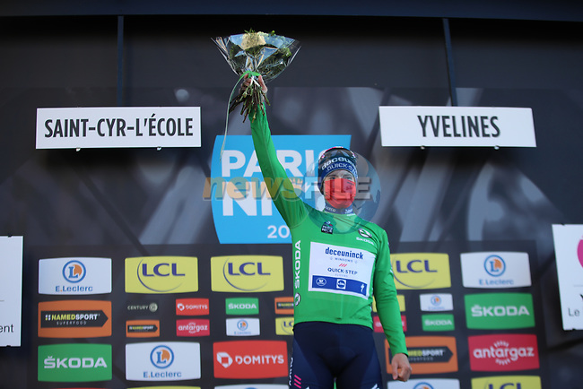Sam Bennett (IRL) Deceuninck-Quick Step wins Stage 1 and also wears the first points Green Jersey of Paris-Nice 2021, running 166km from Saint-Cyr-l'École to Saint-Cyr-l'École, France. 7th March 2021.<br /> Picture: ASO/Fabien Boukla | Cyclefile<br /> <br /> All photos usage must carry mandatory copyright credit (© Cyclefile | ASO/Fabien Boukla)