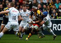 Photo: Richard Lane/Richard Lane Photography. Wasps v Exeter Chiefs.  European Rugby Champions Cup Quarter Final. 09/04/2016. Wasps' Nathan Hughes attacks.