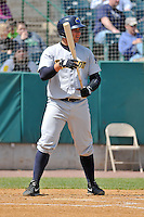 Gary Sanchez (35) of the Trenton Thunder bats during a game against the New Britain Rock Cats at New Britain Stadium on May 7, 2014 in New Britain, Connecticut.  Trenton defeated New Britain 6-4.  (Gregory Vasil/Four Seam Images)