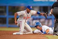 Dunedin Blue Jays shortstop J.C. Cardenas (2) slides into second base during a game against the St. Lucie Mets on April 19, 2017 at Florida Auto Exchange Stadium in Dunedin, Florida.  Dunedin defeated St. Lucie 9-1.  (Mike Janes/Four Seam Images)