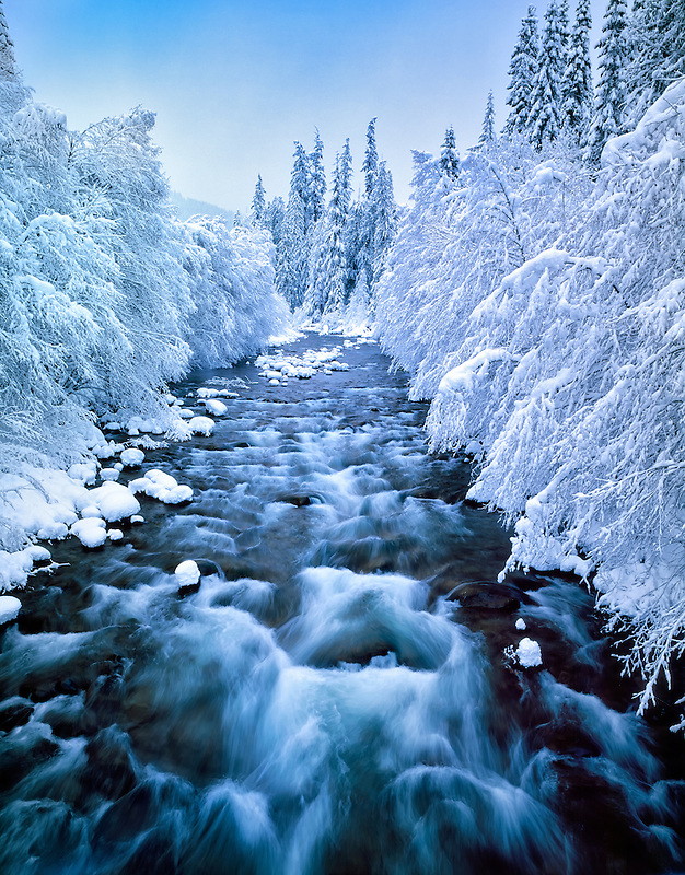 Snowfall on North Santiam River, Oregon
