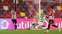 Marcus Forss of Brentford blasts the ball into the side netting from close range during Brentford vs Reading, Sky Bet EFL Championship Football at the Brentford Community Stadium on 19th December 2020