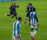 20th February 2021; The John Smiths Stadium, Huddersfield, Yorkshire, England; English Football League Championship Football, Huddersfield Town versus Swansea City; Conor Hourihane of Swansea City celebrates making it 1-1 at the end of the first half