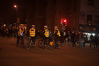 April 7, 2014 - Police surround angry protester on the Quebec election night<br /> <br /> There was a small march of Parti Quebecois supporters in downtown Montreal, when it was offically announced on TV that the PQ had lost the election to the Liberal Party of Quebec led by Philippe Couillard.<br /> <br /> Photo : Philippe Nguyen<br /> -Agence Quebec Presse