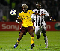 Fudbal, Champions league,Group H season 2010/2011.Partizan Vs. Arsenal.Alex Song, left and Pierre Boya.Beograd, 29.09.2010..foto: Srdjan Stevanovic/Starsportphoto ©