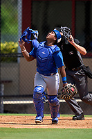 Toronto Blue Jays catcher Victor Mesia (28) during an Extended Spring Training game against the Philadelphia Phillies on June 12, 2021 at the Carpenter Complex in Clearwater, Florida. (Mike Janes/Four Seam Images)