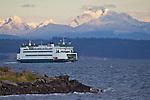Puget Sound, Washington State Ferry, MV Salish, Cascade Mountains, winter snowfall, Port Townsend, Admiralty Inlet, Washington State, Pacific Northwest, USA,