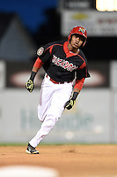 Batavia Muckdogs outfielder Wildert Pujols (38) runs the bases during a game against the Brooklyn Cyclones on August 11, 2014 at Dwyer Stadium in Batavia, New York.  Batavia defeated Brooklyn 4-3.  (Mike Janes/Four Seam Images)
