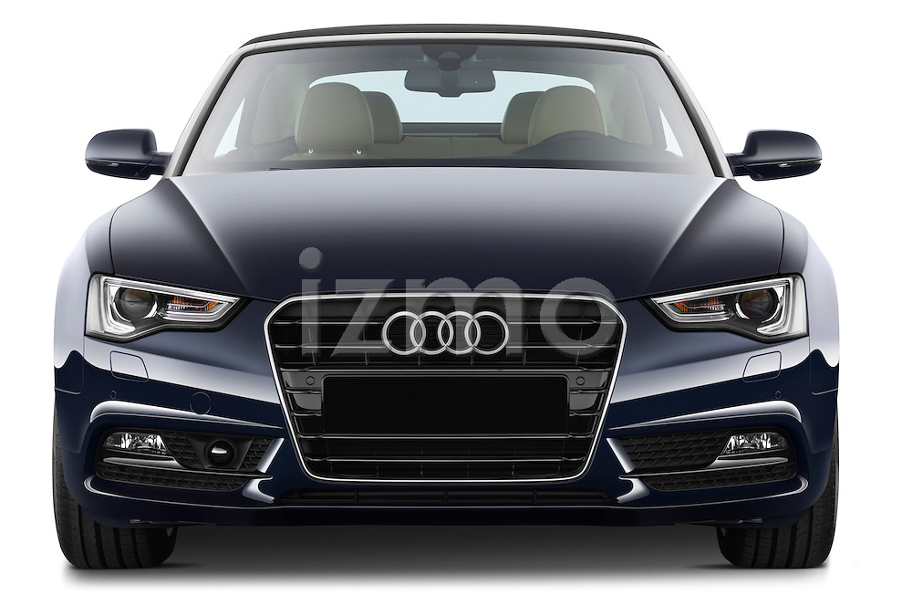 Straight front view of a 2013 Audi A5 Convertible with the top up..