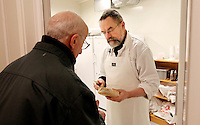 "Brother Joel makes the Munkeby cheese and discuss the process with brother Cyril. The new Munkeby Mariakloster - kloster is Norwegian for monastery . The four founding French monks will establish their discrete presence as a contemplative monastery according to the Rule of Saint Benedict, written in the 6th century. Brother Joel (55) & Cîteaux's Prior, brothers Arnaud (31), Bruno (33) and Cyril (81), have all chosen to be part of the founding community, despite Norway's rude climate and winter darkness at latitude 63º N, not far from the arctic circle.Munkeby, the ""place of the monks"" was the third and northernmost Norwegian monastery established by the Cistercians in the 12th century"