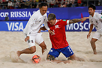 29th August 2021; Luzhniki Stadium, Moscow, Russia: FIFA World Cup Beach Football tournament; Russia versus Japan;  Andrei Novikov of Russia challenges Shusei Yamauchi of Japan, during the match between Russia and Japan