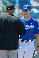 Rancho Cucamonga Quakes Manager Drew Saylor and Lake Elsinore Storm Manager Edwin Rodriguez confer prior to the game between the Lake Elsinore Storm and the Rancho Cucamonga Quakes at LoanMart Field on May 28, 2018 in Rancho Cucamonga, California. The Storm defeated the Quakes 8-5.  (Donn Parris/Four Seam Images)