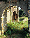 Imperial City Arches - Overgrown ruins viewed through an arched opening of the Imperial Enclosure, Hue, Viet Nam