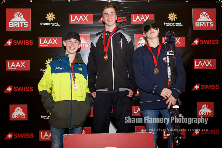 Pix: Shaun Flannery/shaunflanneryphotography.com<br /> <br /> COPYRIGHT PICTURE>>SHAUN FLANNERY>01302-570814>>07778315553>><br /> <br /> 15th October 2016<br /> British Indoor Slopestyle Championships 2016<br /> Chill Factore, Manchester<br /> <br /> Under 16's men podium Mason Flannery (3rd), Jasper Klein (1st) Tom Greenway (2nd)