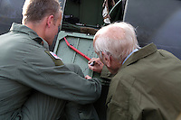 Rolf Kolling signs the Spitfire door, as Eskil Amdal looks on. Norwegian Spitfire Foundation invited Norwegian WWII  Spitfire veterans to fly in Spitfire, at the historical airfield Kjeller in Norway.