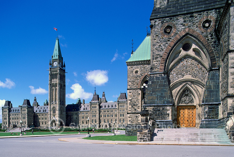 Parliament Buildings on Parliament Hill, in the City of Ottawa, Ontario, Canada - Centre Block with Peace Tower (built 1865 - 1927) and East Block (built 1867 and 1910)