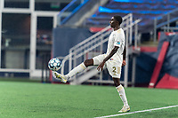 FOXBOROUGH, MA - AUGUST 5: Malyk Hamilton #2 of North Carolina FC controls the ball during a game between North Carolina FC and New England Revolution II at Gillette Stadium on August 5, 2021 in Foxborough, Massachusetts.