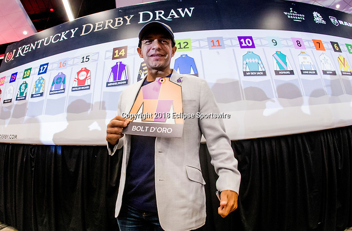 LOUISVILLE, KY - MAY 01: Victor Espinoza holds the Bolt d'Oro silks at the Post Position Draw for the Kentucky Derby at at Churchill Downs on May 1, 2018 in Louisville, Kentucky. (Photo by Alex Evers/Eclipse Sportswire/Getty Images)