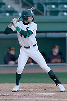 Designated hitter Joe Stewart (5) of the Michigan State Spartans bats in a game against the Maryland Terrapins on Saturday, March 6, 2021, at Fluor Field at the West End in Greenville, South Carolina. (Tom Priddy/Four Seam Images)