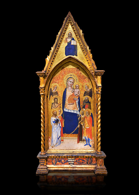 Gothic altarpiece of Madonna and Child by Niccolo di Tommaso, circa 1362-1367, tempera and gold leaf on wood.  National Museum of Catalan Art, Barcelona, Spain, inv no: MNAC  212809. Against a black background.