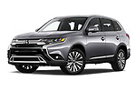 Stock pictures of low aggressive front three quarter view of 2019 Mitsubishi Outlander GT 5 Door SUV Low Aggressive