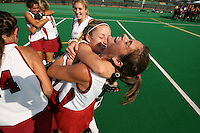 6 November 2007: Stanford Cardinal Hillary Braun (right) and Marlana Shile (center) during Stanford's 1-0 win against the Lock Haven Lady Eagles in an NCAA play-in game to advance to the NCAA tournament at the Varsity Field Hockey Turf in Stanford, CA.
