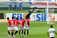 4th October 2020; Couto Pereira Stadium, Curitiba, Parana, Brazil; Brazilian Series A, Coritiba versus Sao Paulo;  Tiago of Sao Paulo cannot stop the goal scored by Robson of Coritiba in the 6th minute for 1-0 from a direct free kick