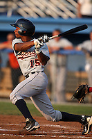 Connecticut Tigers outfielder P.J. Polk (15) during a game vs. the Batavia Muckdogs at Dwyer Stadium in Batavia, New York July 8, 2010.   Connecticut defeated Batavia 4-2 in extra innings.  Photo By Mike Janes/Four Seam Images