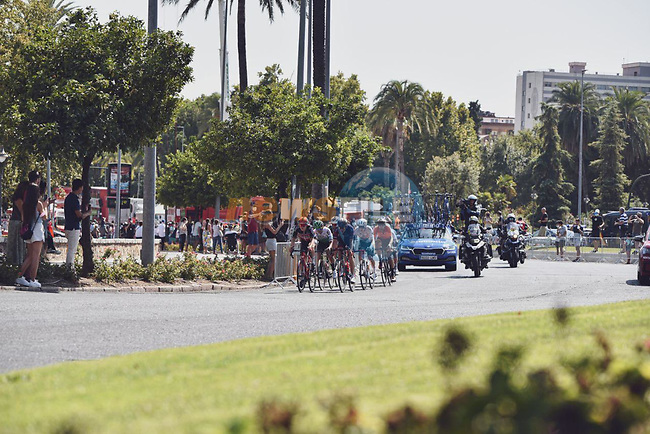 The breakaway during Stage 12 of La Vuelta d'Espana 2021, running 175km from Jaén to Córdoba, Spain. 26th August 2021.   <br /> Picture: Cxcling   Cyclefile<br /> <br /> All photos usage must carry mandatory copyright credit (© Cyclefile   Cxcling)