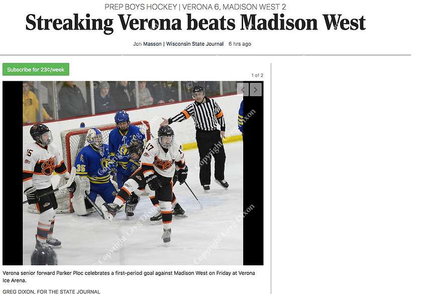 Verona's Parker Ploc (17) celebrates a first period goal, as Madison West takes on Verona in Wisconsin Big Eight conference boys high school hockey on Friday, 1/3/20 at the Verona Ice Arena   Wisconsin State Journal article front page, C1 Sports 1/4/20 and online at https://madison.com/wsj/sports/high-school/hockey/streaking-verona-beats-madison-west/article_9965561f-e8a1-5929-bd21-f63e42ce3d43.html