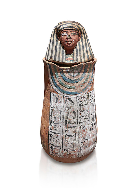 Ancient Egyptian Human headed canopic jar for Amenemheb, clay, New Kingdom, 19th Dynasty (1292-1190 BC), Deir el-Medina. Egyptian Museum, Turin. Old Fund cat 3471. White background.<br /> <br /> The canopic jars were four in number, each for the safekeeping of particular human organs: the stomach, intestines, lungs, and liver, all of which, it was believed, would be needed in the afterlife. By the First Intermediate Period jars with human heads (assumed to represent the dead) began to appear