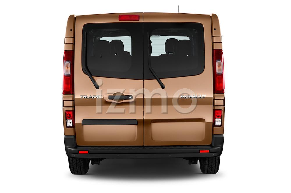 Straight rear view of a 2015 Renault Trafic Luxe 5 Door Van stock images