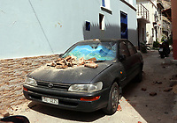 Pictured: Part of a wall has collapsed onto a car in Plomari, Lesbos, Greece. Monday 12 June 2017<br /> Re: A strong earthquake has rocked the Greek island of Lesbos, injuring 10 people and damaging dozens of homes at the Brit tourist hotspot.<br /> The magnitude 6.2 quake struck off the coast of western Turkey close to the islands of Samos and Lesbos, which are hugely popular with holidaymakers.